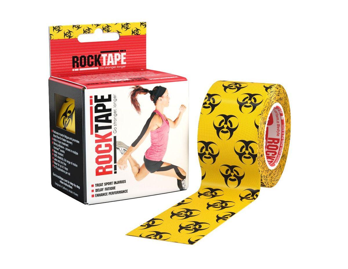 """Кинезиотейп Rocktape """"Design"""", цвет: желтый, черный, 5 x 500 см"""