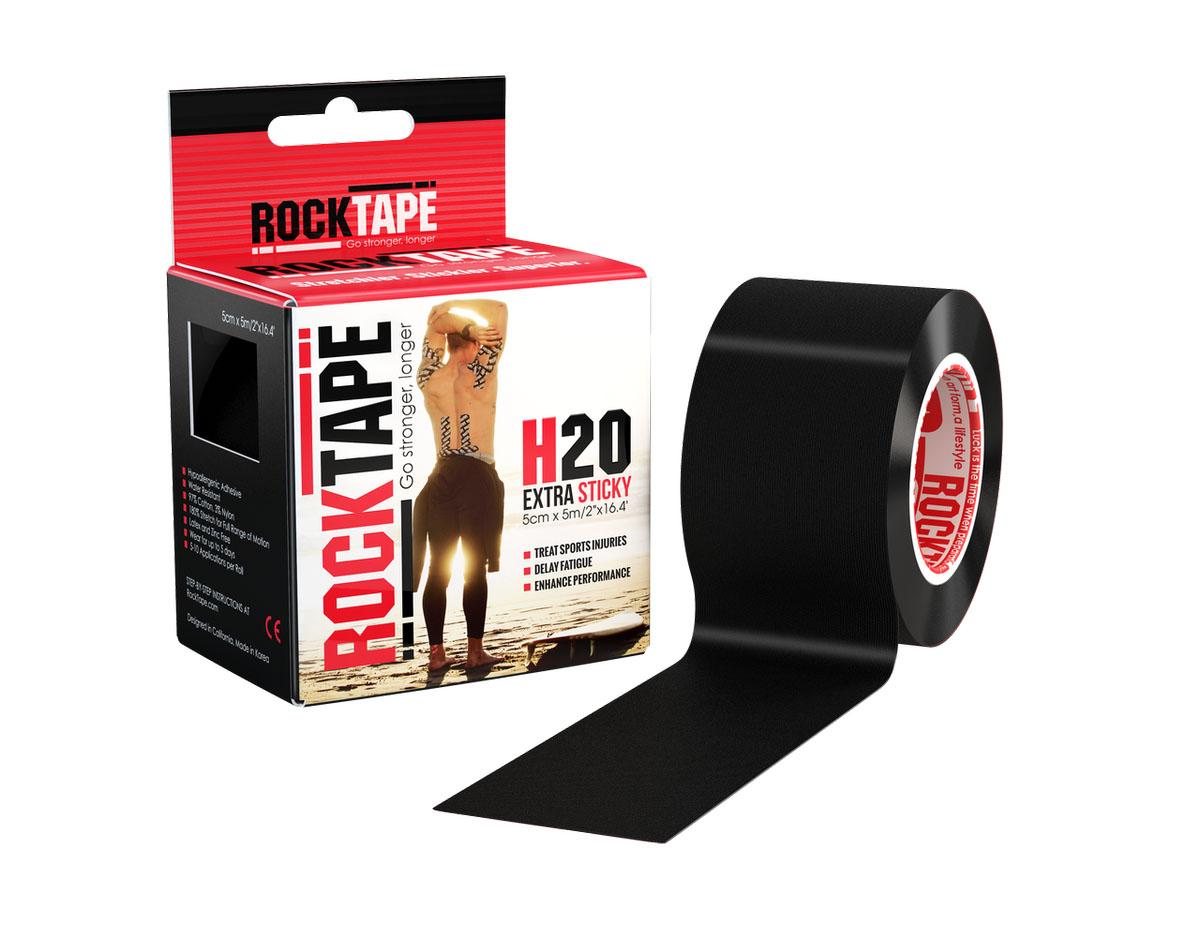 """Кинезиотейп Rocktape """"H2O"""", цвет: черный, 5 х 500 см"""