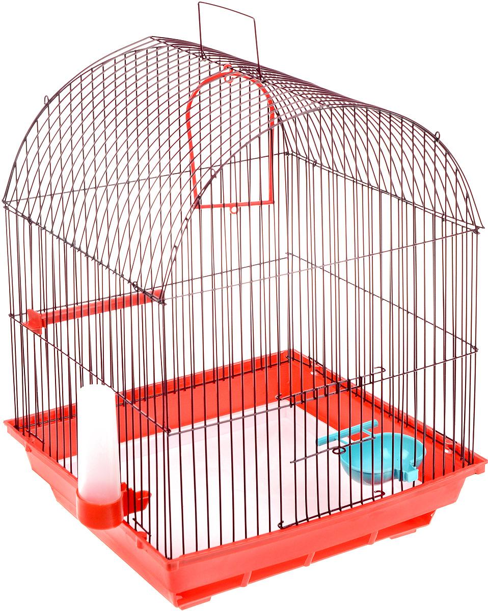 Клетка для птиц ЗооМарк, цвет: красный поддон, бордовая решетка, 35 х 28 х 45 см440Клетка ЗооМарк, выполненная из пластика и металла с эмалированным покрытием, предназначена для мелких птиц. Вы можете поселить в нее одну или две птицы. Изделие состоит из большого поддона и решетки. Клетка снабжена металлической дверцей, которая открывается и закрывается движением вверх-вниз. В основании клетки находится малый поддон. Клетка удобна в использовании и легко чистится. Она оснащена жердочкой, кольцом для птицы, кормушкой, поилкой и подвижной ручкой для удобной переноски. Комплектация: - клетка с поддоном, - малый поддон; - кормушка; - поилка; - кольцо.