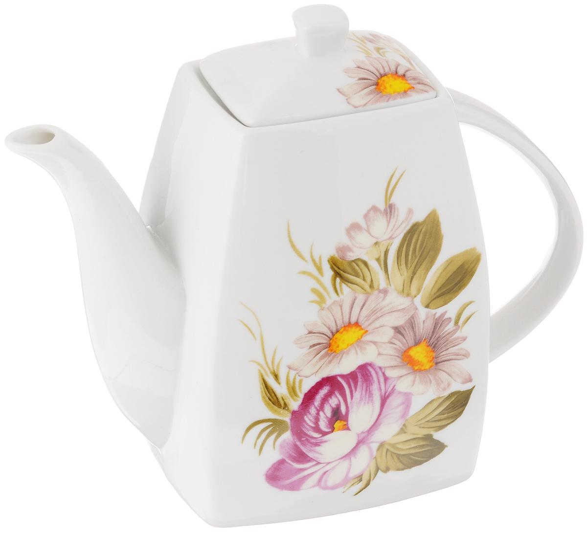 Чайник заварочный Loraine Цветочная идиллия, 1 л21169Заварочный чайник Loraine Цветочная идиллияизготовлениз высококачественной керамики с гладкимглазурованным покрытием. Изделие декорированокрасочным цветочным рисунком.Чайник снабжен удобной ручкой и широкимносиком. В основанииносика расположены фильтрующие отверстия отпопадания чаинок в чашку.Изысканный заварочный чайник украсит сервировкустола к чаепитию. Благодаря красивомуутонченному дизайну и качеству исполнения онстанет хорошим подарком друзьям и близким. Размер чайника (по верхнему краю): 6 х 4 см.Высота чайника (без учета крышки): 15,5 см.