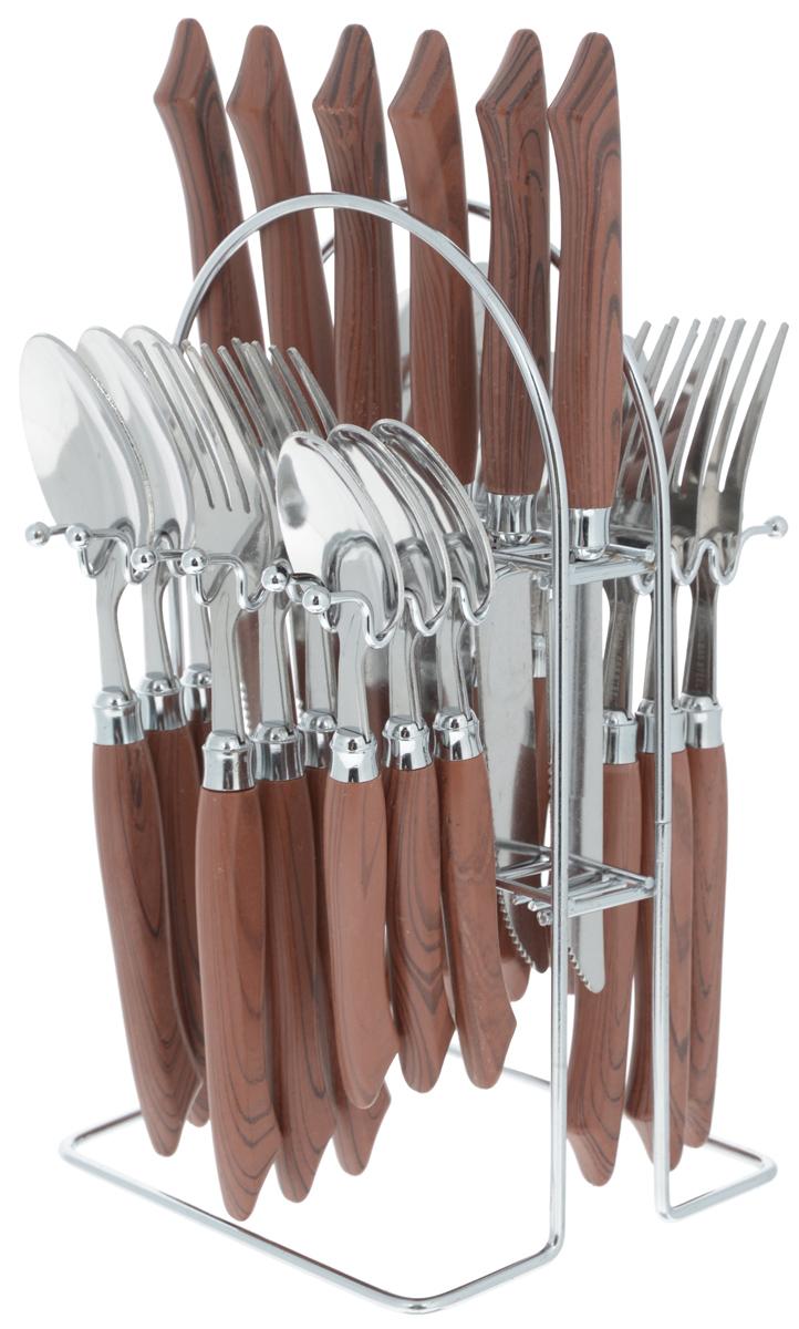 Набор столовых приборов Mayer&Boch, 25 предметов. 49844984/MB-4984Набор столовых приборов Mayer & Boch включает 6 столовых ножей, 6 столовых ложек, 6 столовых вилок, 6 чайных ложек и металлическую подставку. Приборы выполнены из высококачественной нержавеющей стали и снабжены пластиковыми ручками по дерево. Прекрасное сочетание свежего дизайна и удобство использования предметов набора придется по душе каждому. Набор столовых приборов Mayer & Boch подойдет для сервировки стола как дома, так и на даче и всегда будет важной частью трапезы, а также станет замечательным подарком. Длина ножа: 22 см. Длина столовой ложки: 20 см.Длина вилки: 20 см. Длина чайной ложки: 19 см. Размер подставки: 13 х 12,5 х 23,5 см.