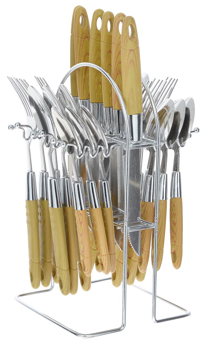 Набор столовых приборов Mayer&Boch, 25 предметов. 49854985Набор столовых приборов Mayer & Boch включает 6 столовых ножей, 6 столовых ложек, 6 столовых вилок, 6 чайных ложек и металлическую подставку. Приборы выполнены из высококачественной нержавеющей стали и снабжены пластиковыми ручками. Прекрасное сочетание свежего дизайна и удобство использования предметов набора придется по душе каждому. Набор столовых приборов Mayer & Boch подойдет для сервировки стола как дома, так и на даче и всегда будет важной частью трапезы, а также станет замечательным подарком. Длина ножей: 22 см. Длина столовых ложек: 20 см.Длина вилок: 20 см. Длина чайных ложек: 19 см. Размер подставки: 13,5 х 12,5 х 23,5 см.