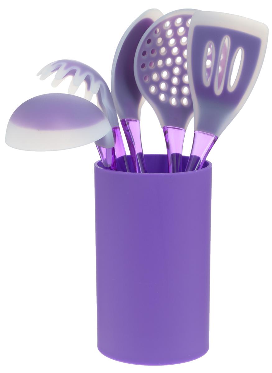 """Набор кухонных принадлежностей """"Mayer & Boch"""" включает ложку для спагетти, лопатку с прорезями, ложку для помешивания, шумовку, половник и подставку.  Приборы выполнены из полистирола, рабочие поверхности предметов покрыты безопасным пищевым силиконом, что позволяет использовать их для посуды с антипригарным покрытием. Ручки приборов снабжены отверстиями для подвешивания.  Для удобного хранения в наборе предусмотрена подставка с покрытием Soft-Touch.  Этот профессиональный набор очень удобен в использовании. Наслаждайтесь приготовлением пищи с набором кухонных принадлежностей """"Mayer & Boch"""".  Длина ложки для спагетти: 31 см.  Диаметр рабочей поверхности ложки для спагетти: 7,5 см.  Длина шумовки: 34 см.  Диаметр рабочей поверхности шумовки: 10,5 см.  Длина ложки: 33 см.  Размер рабочей поверхности ложки: 6,5 х 11 см.  Длина лопатки: 33,5 см.  Размер рабочей поверхности лопатки: 8 х 10 см.  Длина половника: 30,5 см.  Диаметр рабочей поверхности половника: 8,5 см."""