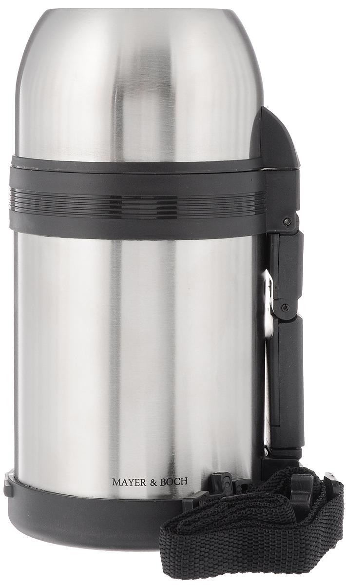 Термос Mayer & Boch, с ручкой, 600 мл23145Термос Mayer & Boch предназначен для хранения теплых и холодных напитков на длительное время. Изделие изготовлено из пластика и высококачественной нержавеющей стали. Пробка плотно закручивается, а благодаря вакуумной кнопке внутри создается абсолютная герметичность, что предотвращает проливание напитков. Термос оснащен завинчивающейся крышкой, которая может выполнять функцию кружки, в комплект входит небольшая чаша. Изделие оснащено эргономичной ручкой и съемным ремнем для удобной переноски. Термос сохраняет температуру горячих или холодных продуктов до 12 часов.Диаметр горлышка по верхнему краю: 7,5 см. Диаметр основания: 10 см. Высота термоса: 18,5 см. Диаметр чашки по верхнему краю: 10 см. Высота стенки чашки: 6,5 см. Диаметр малой чаши (по верхнему краю): 9 см. Высота малой чаши: 4 см.