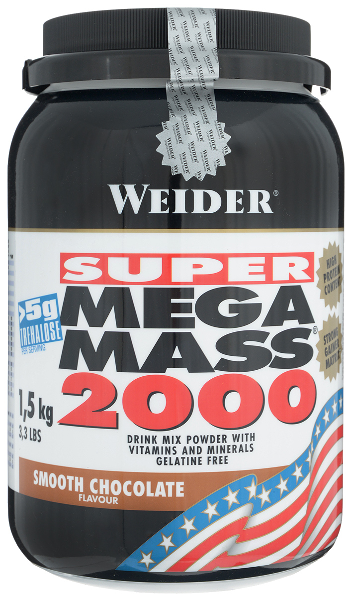 Гейнер Weider Super Mega Mass 2000, шоколад, 1,5 кг32812Гейнер Weider Super Mega Mass 2000 - высококачественный продукт для наращивания мышечной массы. Предназначен для приготовления напитка с углеводами, белком, минералами и витаминами. Главный элемент продукта - углеводы, направленные на рост уровня глюкозы в крови и насыщение энергией мышц. В результате ускоряется анаболизм, производство инсулина и прочих компонентов, необходимых для роста. Результат - максимум потенциального веса и биоактивных элементов и минимум жира. Белковая составляющая - это молочный белок и изолят соевого протеина. Молочный белок отличается высоким содержанием протеина (от 80% и более), быстрой усвояемостью и способностью полноценно питать мышечные клетки. После поступления в желудок сывороточный белок переваривается через 30-40 минут, расщепляется на аминокислоты и поступает к мышцам, обеспечивая их стабильный рост. Изолят соевого протеина, наоборот, отличается низкой скоростью усвоения, что гарантирует питание клеток в течение 3-4 часов после приема. Каждая порция Super Mega Mass 2000 содержит более 5 г трегалозы - соединение, участвующее в процессах роста, и 2,7 г таурина, который нормализует обменные процессы на уровне клеток и приближает достижение результата. В порции коктейля содержатся витамины и минералы в оптимальных количествах. В банке есть мерная ложка. Сбалансированный состав Super Mega Mass 2000 делает его лучшим выбором для атлетов, которые стремятся достичь цели, но при этом заботятся о здоровье. Рекомендации по применению: Пейте один коктейль за 1-1,5 часа до тренировки. В дни без тренировок - между завтраком и обедом. Рекомендации по приготовлению: 90 г порошка (1,5 мерной ложки) размешать в 300 мл молока до 1,5% жирности. Состав: декстроза, мальтодекстрин, фруктоза, молочный белок, изолят соевого протеина, трегалоза, крахмал, ароматизатор, эмульгаторы: соевый лецитин, моно- и диглицериды жирных кислот; карбонат магния, антислеживающий агент: дикалия фосфат; пальмовое ма