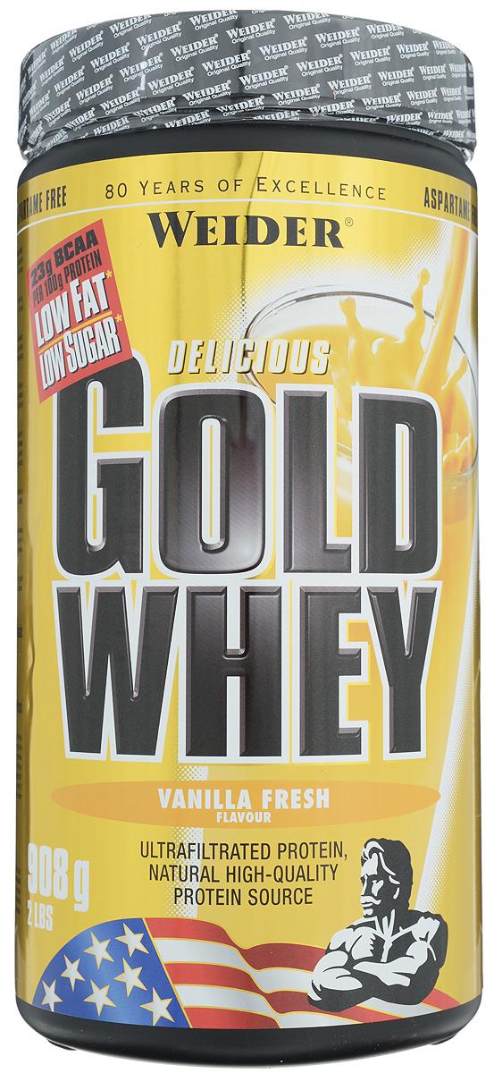 Протеин сывороточный Weider Gold Whey, ваниль, 908 г31201Сывороточный протеин Weider Gold Whey - это протеиновый порошок с концентратом сывороточного протеина, который обладает приятным вкусом и отвечает всем физиологическим потребностям. Сывороточный белок обладает наивысшей биологической ценностью, лучше всего переносится организмом и дает прирост чистой мышечной массы. В качестве сырья используется микрофильтрованный протеин, который не выносит высоких температур и высокого давления. В состав продукта входят важнейшие аминокислоты с разветвленной структурой (BCAA), которые не дадут вашим мышцам мучиться от катаболизма, и глютамин. Gold Whey также содержит глобулин и гликомакропептиды, которые являются биологически активными веществами. Они способствуют укреплению здоровья подобно пробиотикам или Омега-3 жирным кислотам. В Gold Whey содержатся бета- и альфа-лактоглобулины, которые регулируют кислотно-щелочной баланс и являются поставщиками энергии. Иммуноглобулины укрепляют защитные силы организма, а гликомакропептиды контролируют аппетит. Не содержит аспартам. Отличный выбор для начинающих спортсменов, желающих увеличить сухую мышечную массу. Рекомендации по применению: Употребляйте 1 порцию сразу после тренировки. Отличный выбор для начинающих спортсменов, желающих увеличить сухую мышечную массу. Приготовление: 30 г порошка растворить в 300 мл молока до 1,5% жирности. Состав: концентрат сывороточного протеина, ароматизатор, кокосовый порошок, овсяные хлопья, краситель: Е150с; подсластители: ацесульфам К, цикламат натрия, сахарин натрия; эмульгаторы: соевый лецитин, моно- и диглицериды жирных кислот. Содержит лактозу. Возможно незначительное содержание яиц. Энергетическая ценность одной порции (на 300 мл воды): 121 ккал. Пищевая ценность одной порции (на 300 мл воды): жиры 2,1 г, углеводы 3 г, белки 23 г. Энергетическая ценность одной порции (на 300 мл молока 1,5% жирности): 265 ккал. Пищевая ценность одной порции (на 300 мл молока 1,5% жирности): жиры 6,9 г, угл