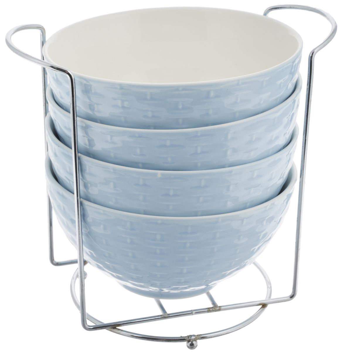 Набор супниц Loraine, на подставке, цвет: светло-синий, белый, 420 мл, 5 предметов22575Набор Loraine включает четыре супницы, выполненные из высококачественной глазурованной керамики. Внешние стенки декорированы рельефом под плетение. Набор прекрасно подходит для подачи супов, бульонов и других блюд. Элегантный дизайн отлично впишется в интерьер любой кухни.Супницы компактно размещаются на подставке из железа.Посуду можно использовать в микроволновой печи и холодильнике, а также мыть в посудомоечной машине.Объем супниц: 420 мл.Диаметр супниц по верхнему краю: 15,5 см.Высота супниц: 8 см.Размер подставки: 20 х 13 х 18 см.