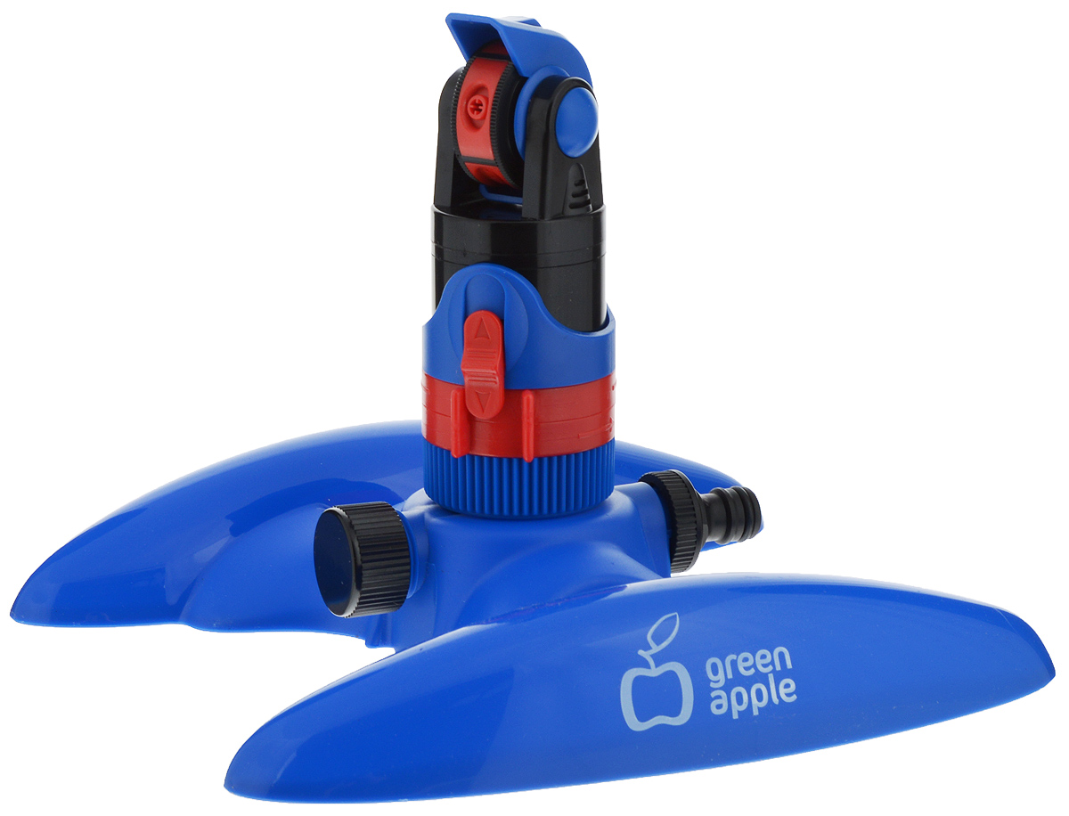 Разбрызгиватель Green Apple GWRS12-044, секторный, вращающийся, с регулируемым углом поливаGWRS12-044Секторный разбрызгиватель Green Apple предназначен для равномерного полива участков площадью до 300 м2. Бесшумная работа, 4 режима регулировки струи воды и возможность задания необходимого сектора позволяют максимально гибко оптимизировать процесс полива.Настройки:- регулировка сектора полива,- регулировка дистанции полива,- переключение режимов.Режимы:- туман: 50° - 19,6 м,- фонтан: 70° - 27 м,- мульти: 50° - 24,3 м,- джет: 50° - 19,6 м.
