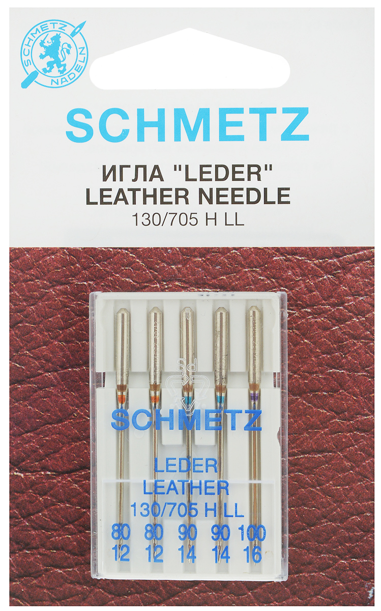 Набор игл для кожи Schmetz Leder, №80, 90, 100, 5 шт22:15.AS2.VISНабор Schmetz Leder состоит из пяти игл с режущим остриемдля бытовых швейных машин всех марок. Изделия предназначены для кожи, искусственной кожи и похожих материалов. Не рекомендуется применять для текстильных изделий.Комплектация: 5 шт. Размер игл: №80, 90, 100.Система игл: 130/705 H LL.