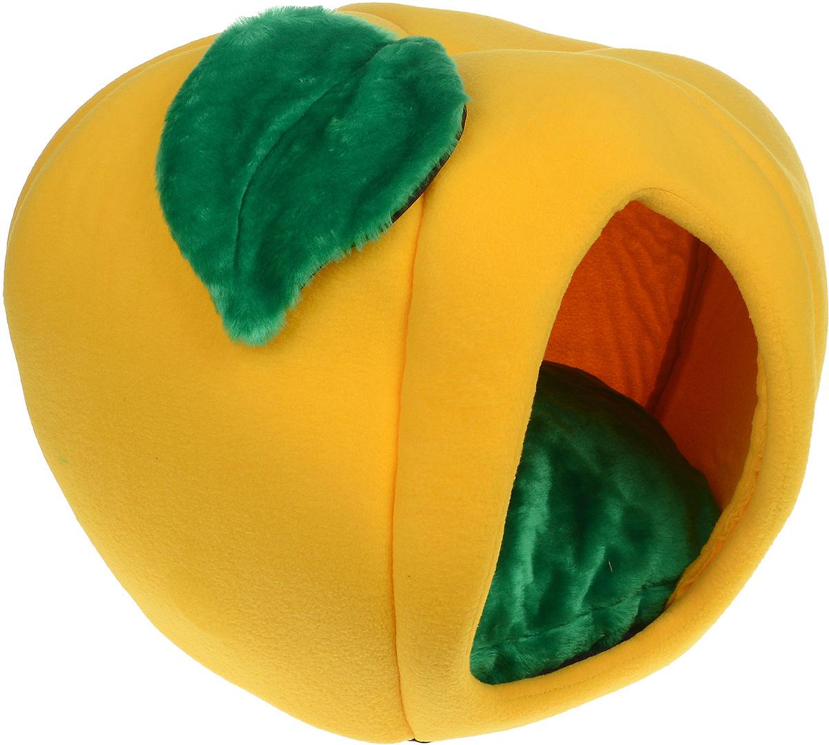 Домик для животных Зооник Тыква, с подушкой, цвет: желтый, зеленый, 50 х 50 х 40 см домик perseiline кошка для кошек 38 40 40 см 00025 дмс 4