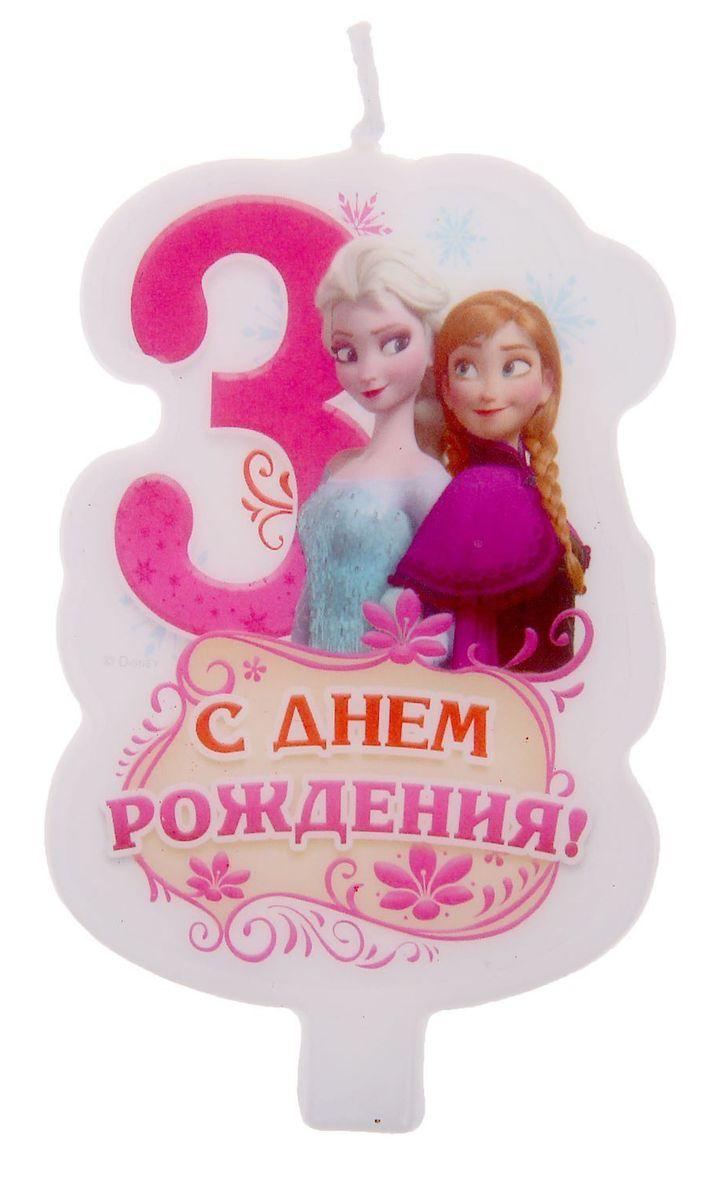 Disney Свеча для торта С днем рождения Цифра 3 Холодное сердце disney гирлянда детская вымпел с днем рождения холодное сердце