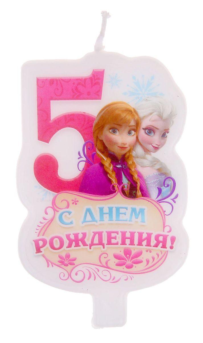 Disney Свеча для торта С днем рождения Цифра 5 Холодное сердце disney гирлянда детская на ленте с днем рождения холодное сердце 230 см
