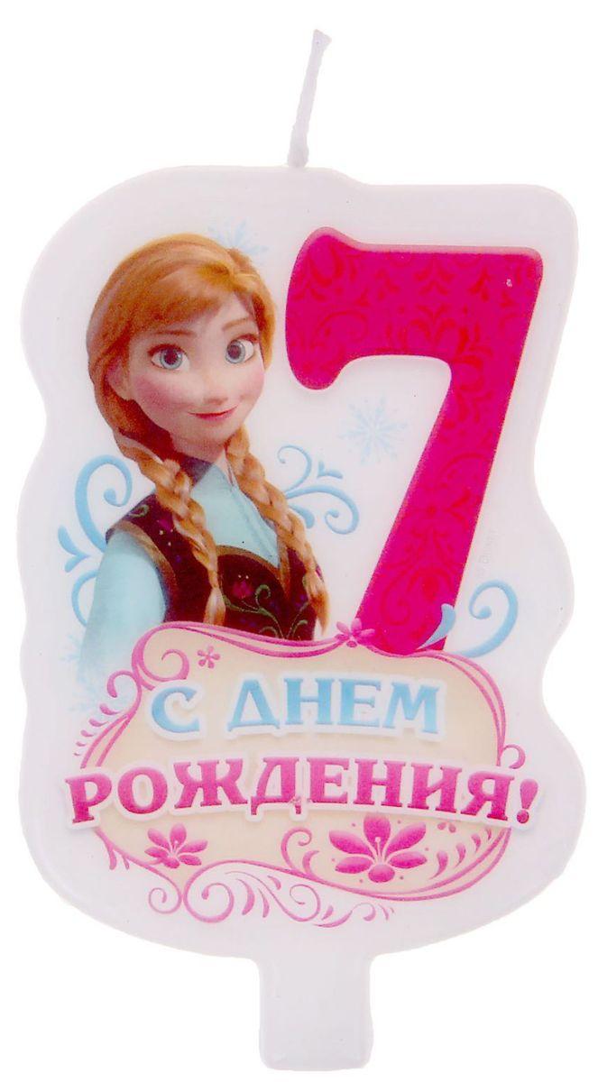 Disney Свеча для торта С днем рождения Цифра 7 Холодное сердце disney гирлянда детская на ленте с днем рождения холодное сердце 230 см