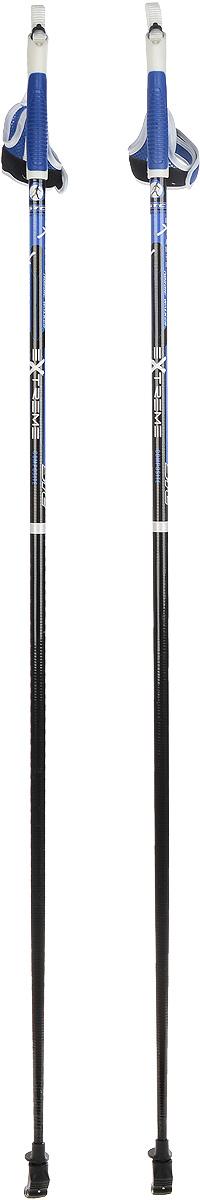 Палки для скандинавской ходьбы STC Extreme, цвет: черный, синий, длина 115 смEXTREME 115Палки для скандинавской ходьбы STC Extreme обладают отличным запасом прочности, благодаря эргономичным свойствам стеклопластика. Специальный усиленный наконечник и резиновый башмачок придают надежности и долговечности при активном использовании этих палок на абсолютно любых поверхностях и в любое время года. Текстильные петли на ручках делают эксплуатацию более удобной.Как выбрать инвентарь для скандинавской ходьбы. Статья OZON Гид