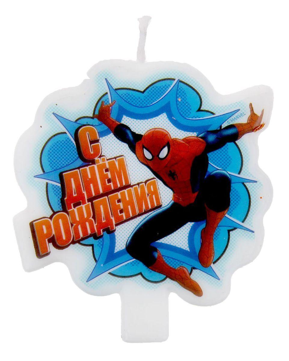Marvel Свеча для торта С днем рождения Человек-Паук 1169267 marvel гирлянда детская на люверсах с днем рождения человек паук
