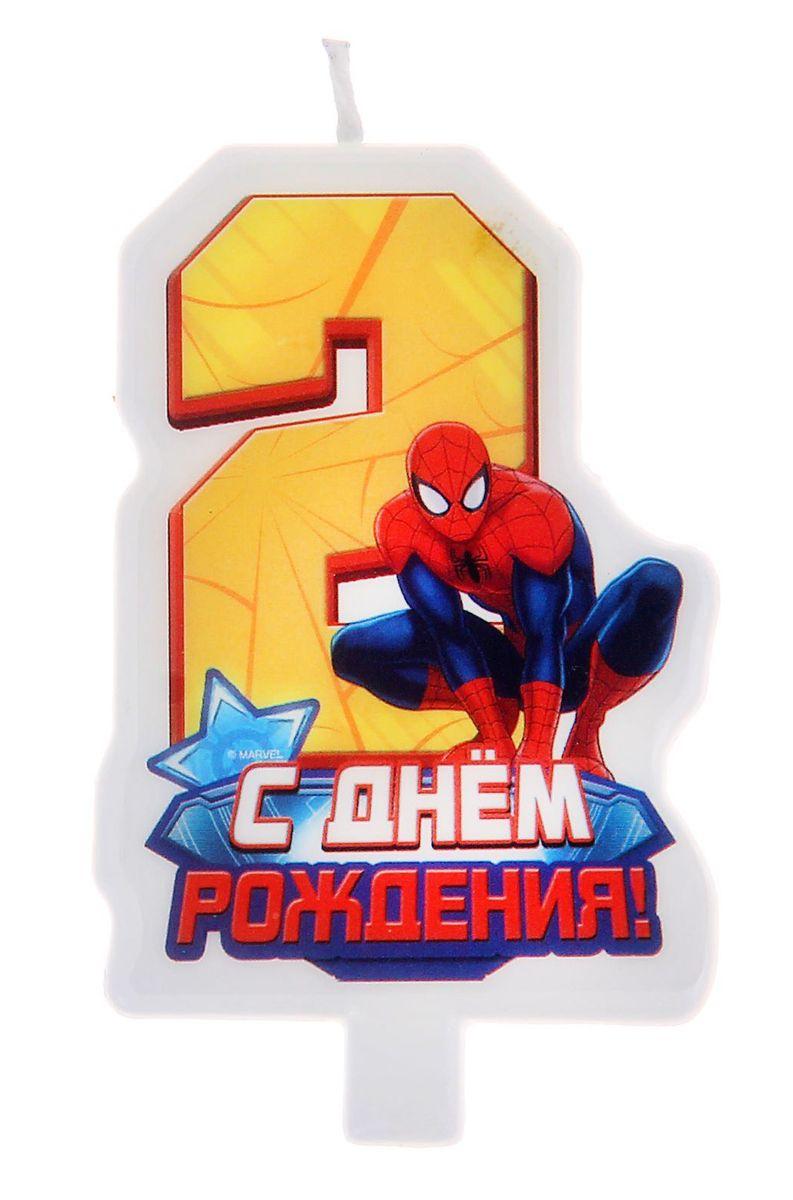 Marvel Свеча для торта С днем рождения Цифра 2 Человек Паук marvel гирлянда детская на люверсах с днем рождения человек паук