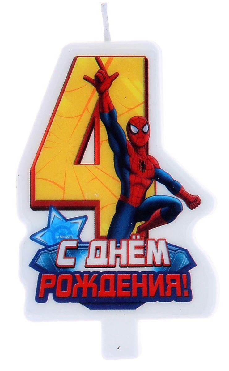 Marvel Свеча для торта С днем рождения Цифра 4 Человек Паук marvel гирлянда детская на люверсах с днем рождения человек паук