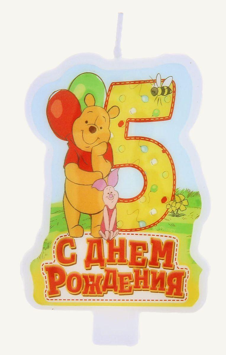 Disney Свеча для торта С днем рождения Цифра 5 Медвежонок Винни и его друзья disney гирлянда детская подвески спиральные с днем рождения медвежонок винни