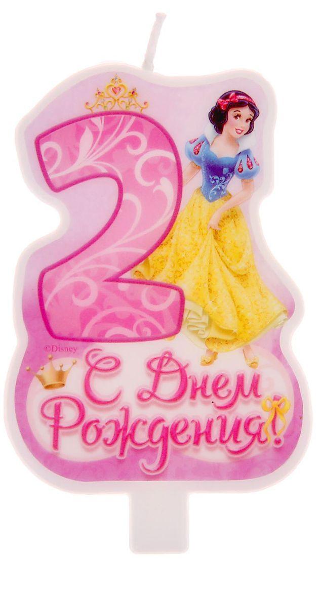 Disney Свеча для торта С днем рождения Цифра 2 Принцессы -  Свечи для торта