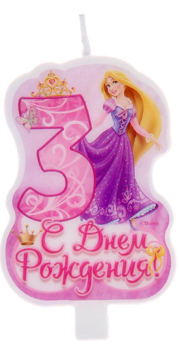 Disney Свеча для торта С днем рождения Цифра 3 Принцессы disney гирлянда детская подвески спиральные с днем рождения принцессы