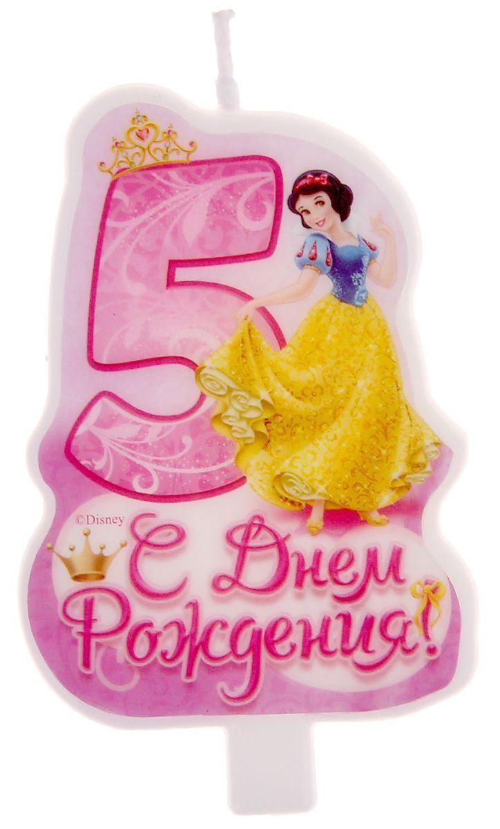 Disney Свеча для торта С днем рождения Цифра 5 Принцессы disney гирлянда детская подвески спиральные с днем рождения принцессы