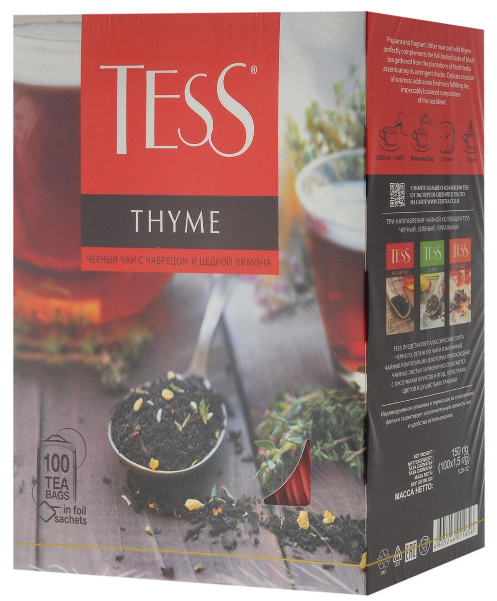Tess Thyme черный чай в пакетиках, 100 шт1185-09Черный чай с чабрецом и цедрой лимона Tess Thyme сочетает в себе пряный, душистый, чуть горьковатый горный чабрец и насыщенный вкус черного чая, собранного на плантациях северной Индии, подчеркивая его терпкие оттенки. Деликатная цитрусовая кислинка вносит ноту свежести, завершая безупречно сбалансированную вкусовую гамму чайного купажа.Всё о чае: сорта, факты, советы по выбору и употреблению. Статья OZON Гид