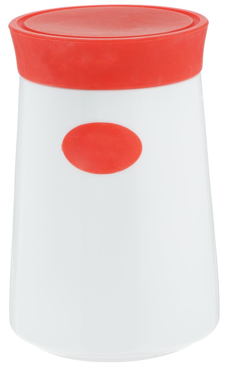Банка для сыпучих продуктов Gotoff, цвет: белый, красный, 1,3 л7D503_красныйБанка для сыпучих продуктов Gotoff изготовлена из высококачественной керамики белого цвета. Емкость оснащена плотно закрывающейся цветной силиконовой крышкой, которая предохраняет продукты от влаги и сохраняет их свежими. Изделие прекрасно подходит для хранения макарон, круп, специй, сахара, чая, кофе и других продуктов.Такая емкость станет полезным и функциональным предметом на каждой кухне. Диаметр (по верхнему краю): 10 см. Диаметр основания: 12 см.Высота: 17,5 см.
