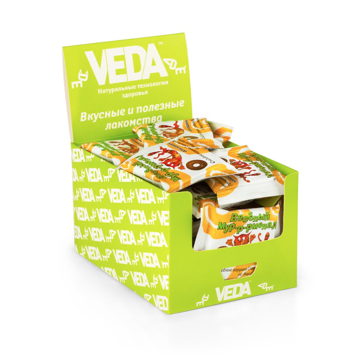 Лакомство VEDA Веселый Мур-Р-Рмелад, для кошек, в шоу-боксе, с курицей, 32 шт лакомство для кошек veda веселый мур р рмелад со вкусом курицы 7 г