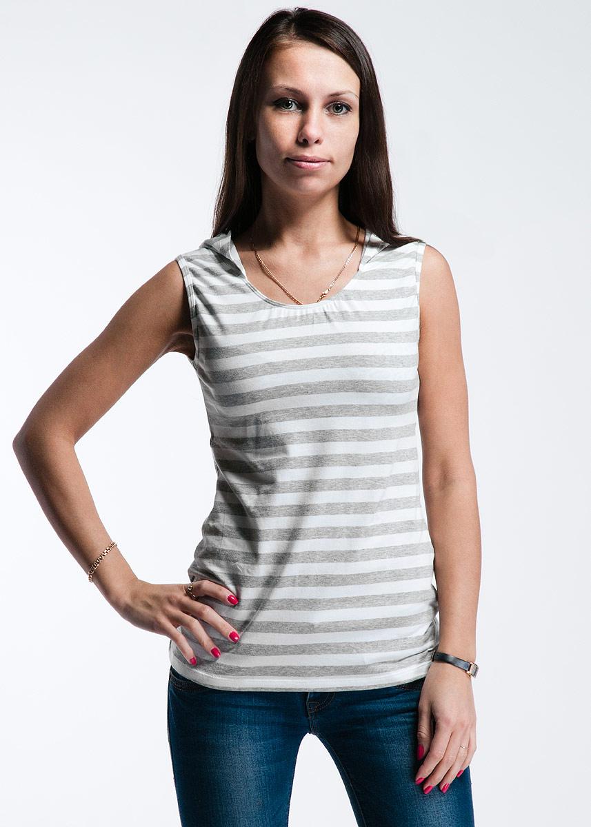 Майка женская Lowry, цвет: серый, белый. LM-204. Размер S (42/44) плавки мужские lowry цвет черный фиолетовый msb 1 размер l 48