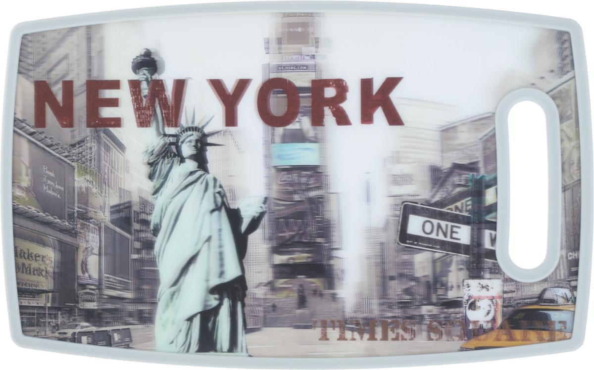 Доска разделелочная 3D Mayer & Boch New-York, 37 х 23 см24760Разделочная доска 3D Mayer & Boch New-York, выполненная из высококачественного полипропилена и древесных волокон, станет незаменимым аксессуаром на вашей кухне. Одна сторона доски декорирована 3Dизображением Нью-Йорка, другая сторона белого цвета. Антибактериальное покрытие защищает от плесени, грибков и неприятных запахов. Изделие отлично подходит для приготовления и измельчения пищи, а также для сервировки стола. Такая доска прекрасно впишется в интерьер любой кухни и прослужит вам долгие годы.