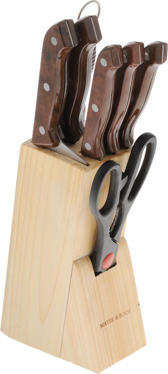 """Набор """"Mayer & Boch"""" станет для вас отличным помощником при нарезке  овощей, фруктов и мяса. Предметы набора выполнены из высококачественной  нержавеющей стали и обладают хорошими режущими свойствами. Удобные   ручки изделий обеспечивают безопасную работу и комфортное положение в  руке.  В набор входят 5 ножей и точилка: нож для рубки, хлебный, для выемки костей, универсальный, нож  для очистки, подставка и ножницы.   Предметы набора размещаются в стильной подставке, которая выполнена из  дерева. Не рекомендуется мыть в посудомоечной машине.  Такой набор порадует любую хозяйку, ведь готовить теперь  станет еще проще и приятнее. Длина ножа для рубки: 26 см. Длина лезвия  ножа для рубки мяса: 15,2 см. Длина ножа для хлеба: 29 см. Длина лезвия ножа для хлеба: 17,8 см. Длина ножа для выемки костей: 24 см. Длина лезвия ножа для выемки костей: 13,3 см. Длина универсального ножа: 22 см. Длина лезвия универсального ножа: 11,4 см. Длина ножа для очистки: 18,5 см. Длина лезвия ножа для очистки: 8,9 см. Длина ножниц: 21 см. Длина точилки: 30 см. Размер подставки: 13 х 12 х 23 см."""