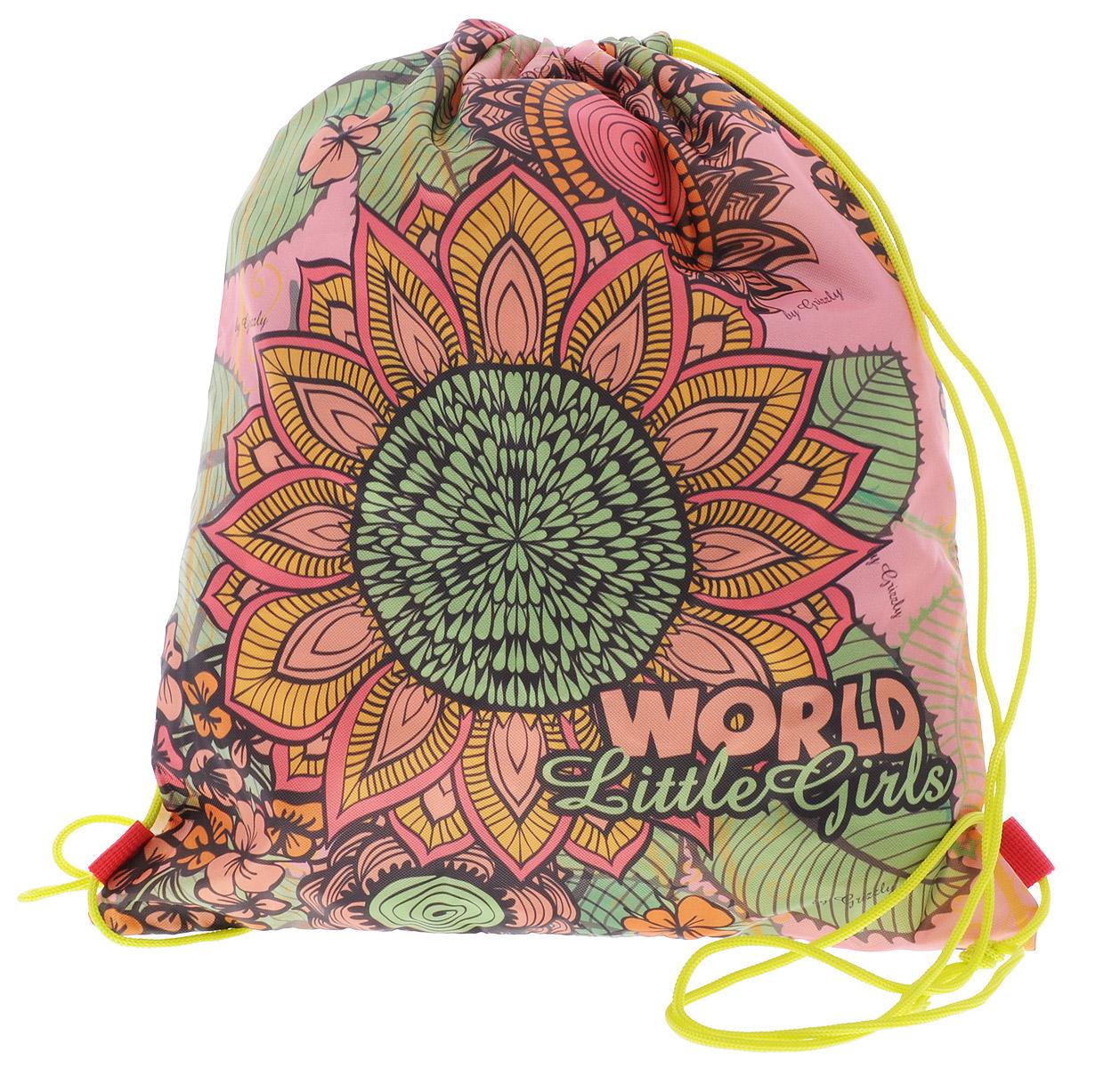 Grizzly Мешок для обуви World Little Girls цвет бежевый розовый зеленый