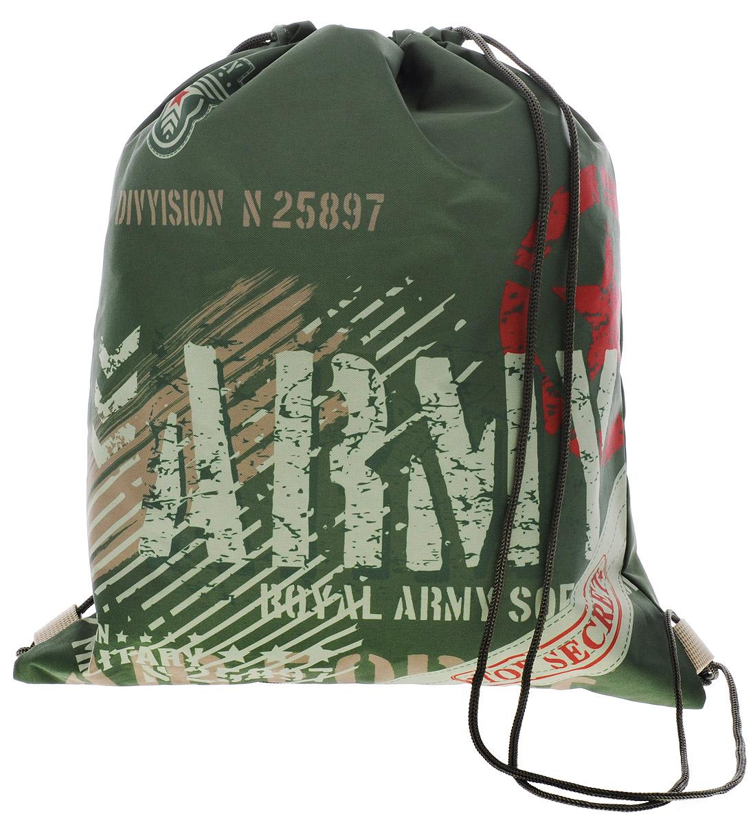 Grizzly Мешок для обуви ArmyOM-667-9/1Мешок для обуви Grizzly Army идеально подойдет как для хранения, так и для переноски сменной обуви и одежды.Мешок выполнен из прочного материала и содержит одно вместительное отделение, затягивающееся с помощью текстильных шнурков. Шнурки фиксируются в нижней части сумки, благодаря чему ее можно носить за спиной как рюкзак.Ваш ребенок с радостью будет ходить с таким аксессуаром в школу!Уход: протирать мыльным раствором (без хлора) при температуре не выше 30 градусов.