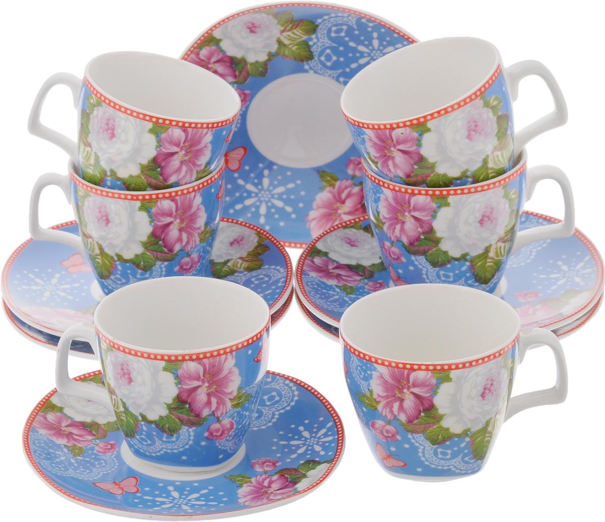 Набор кофейный Loraine Розы, 12 предметов24757Кофейный набор Loraine Розы состоит из 6 чашек и 6 блюдец. Изделия выполнены из высококачественного фарфора, имеют яркий дизайн и классическую круглую форму. Такой набор прекрасно подойдет как для повседневного использования, так и для праздников. Набор Loraine Розы - это не только яркий и полезный подарок для родных и близких, а также великолепное дизайнерское решение для вашей кухни или столовой. Диаметр чашки (по верхнему краю): 6 см. Высота чашки: 6 см. Диаметр блюдца (по верхнему краю): 12 см. Высота блюдца: 1,5 см.Объем чашки: 80 мл.