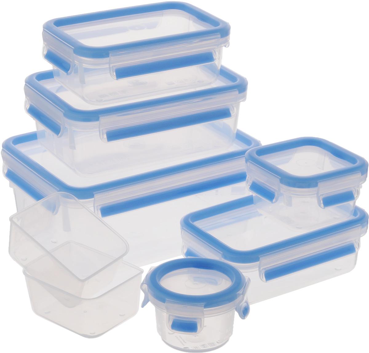 Набор контейнеров Emsa Clip&Close, 7 предметов515562Набор Emsa Clip&Close состоит из 6 контейнеров разного объема и 2 небольших емкостей. Предметы набора изготовлены из высококачественного пищевого пластика, который выдерживает температуру от -40°С до +110°С, не впитывает запахи и не изменяет цвет. Контейнеры снабжены крышками, закрывающимися по бокам на 4 защелки. Герметичность достигается за счет специальных силиконовых уплотнителей, которые позволяют использовать контейнер для хранения не только пищи, но и напитков. В таком контейнере продукты долгое время сохраняют свою свежесть. Прозрачные стенки позволяют просматривать содержимое. Сбоку имеются отметки литража. Изделия подходят для домашнего использования, для пикников, поездок, такие контейнеры удобно брать с собой на работу или учебу. Можно использовать в СВЧ-печах, холодильниках, посудомоечных машинах, морозильных камерах. Объем контейнеров: 2,3 л; 1 л; 0,55 л; 0,55 л; 0,25 л; 0,15 л. Размер контейнеров (без учета крышек): 22 х 16 х 9,5 см; 18,5 х 13 х 6,5 см; 15,5 х 10,5 х 5,3 см; 9,5 х 9,5 х 5 см; 8 х 8 х 5,2 см.Размер емкости: 9 х 7 х 4,5 см.