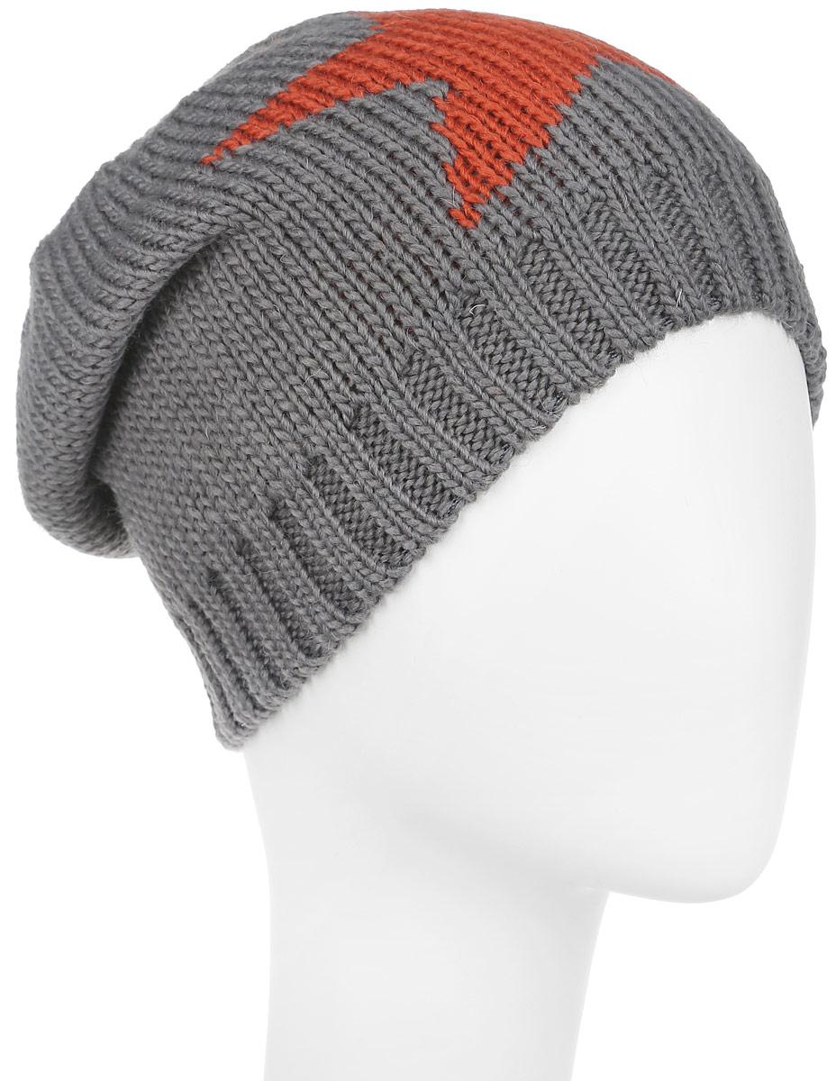 Комплект женский Venera: шапка, шарф, цвет: серый, оранжевый. 9902541-23. Размер универсальный