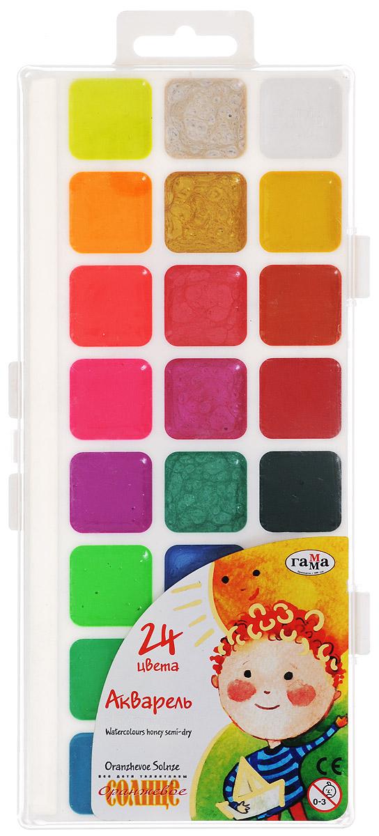 Гамма Акварель Оранжевое солнце 24 цвета212084Акварельные краски Оранжевое солнце помогут воплотить в жизнь любые художественные замыслы на занятиях в школах, детских садах, художественных кружках или дома. Яркие насыщенные цвета делают процесс рисования более увлекательным. В набор также входят золотой, серебряный и флуоресцентный цвета.Кисточка в комплект не входит. Характеристики: Размер упаковки: 23,5 см x 10 см x 1 см.