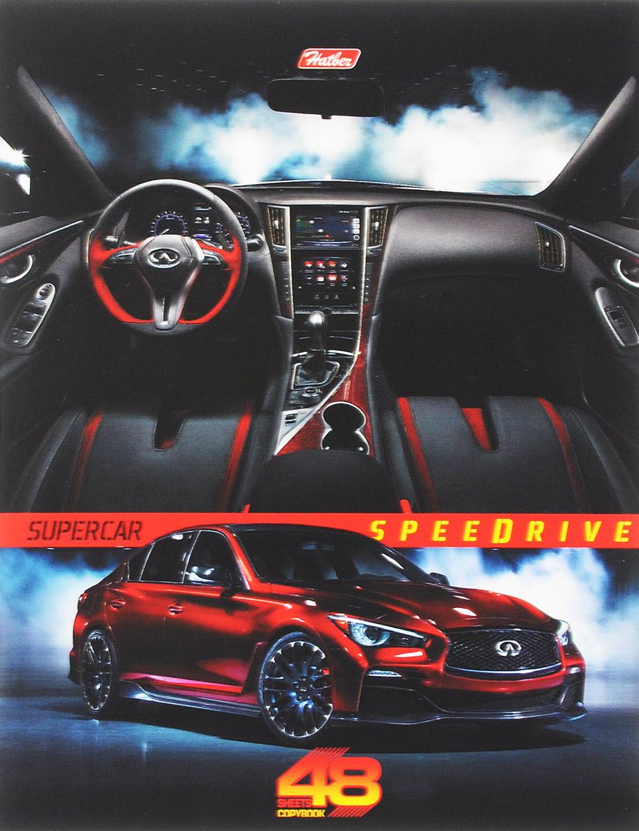 Hatber Тетрадь Super Car 48 листов в клетку цвет машины красный48Т5В1_14546Тетрадь Hatber Super Car подойдет для школьников и студентов.Обложка, выполненная из плотного картона, позволит сохранить тетрадь в аккуратном состоянии на протяжении всего времени использования. Лицевая сторона дополнена изображением стильного авто марки Mazda.Внутренний блок тетради, соединенный двумя металлическими скрепками, состоит из 48 листов белой бумаги. Стандартная линовка в клетку голубого цвета дополнена полями.