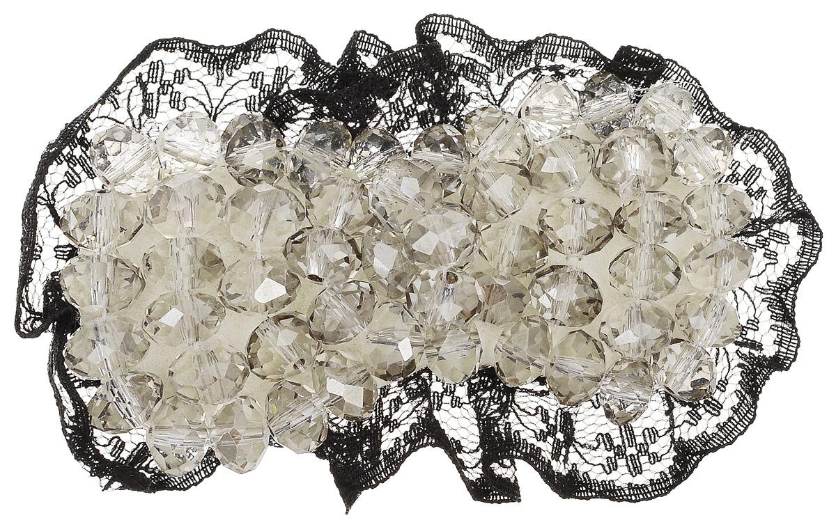 Зажим для волос Fashion House, цвет: черный, бежевый. FH28527 fashion house зажим для волос винни пух