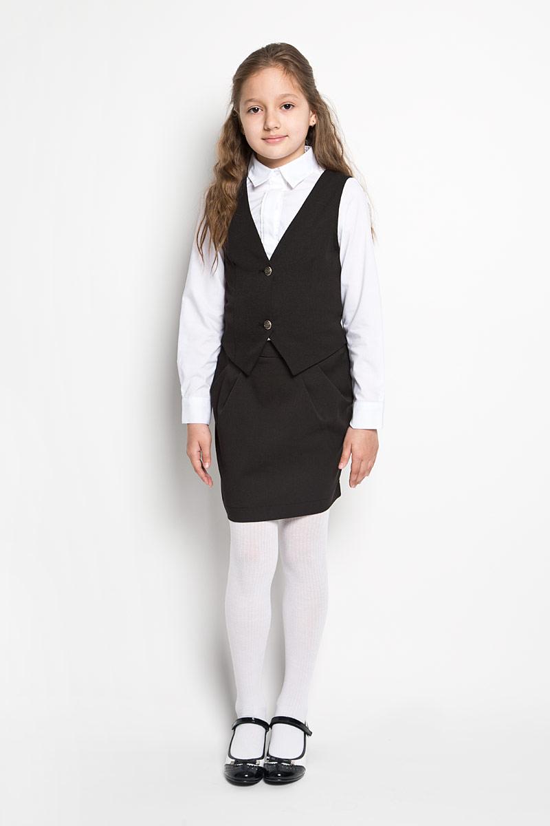 Жилет для девочки Orby School, цвет: черный. 64138_OLG, вариант 3. Размер 152, 10-11 лет orby orby кардиган синий