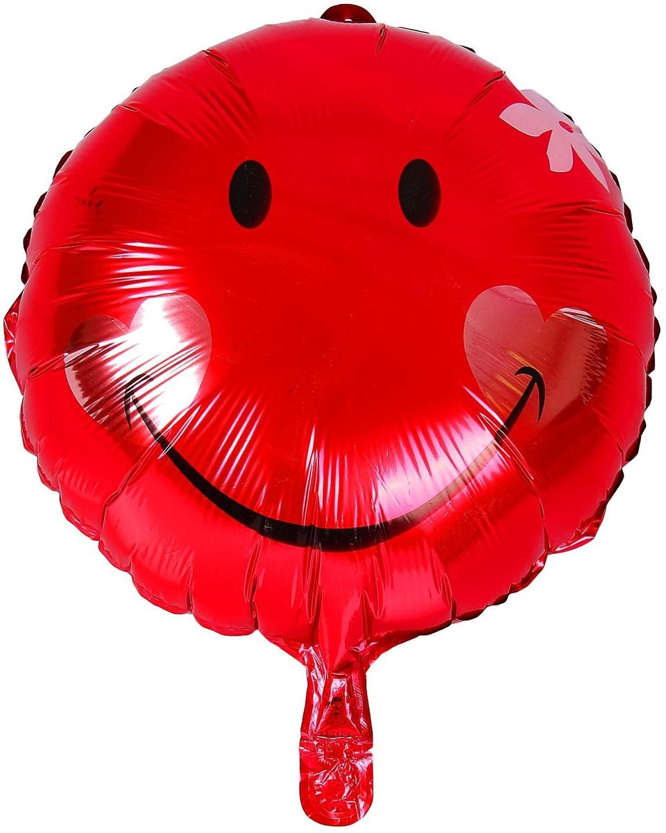 Sima-land Воздушный шарик Шар улыбка с цветком Круг 18