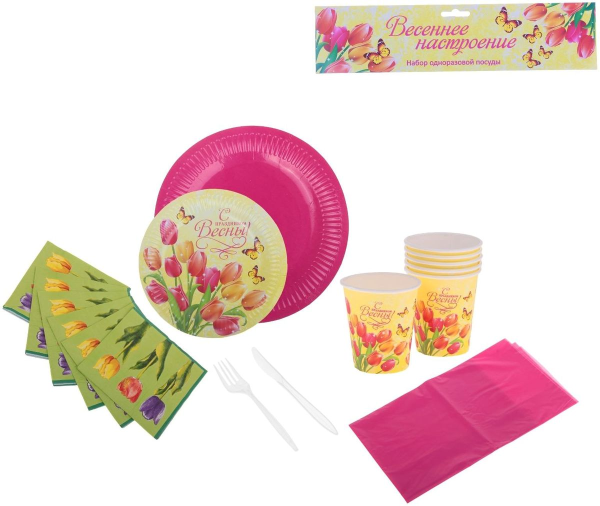 Страна Карнавалия Набор бумажной посуды Весеннее настроение на 6 персон