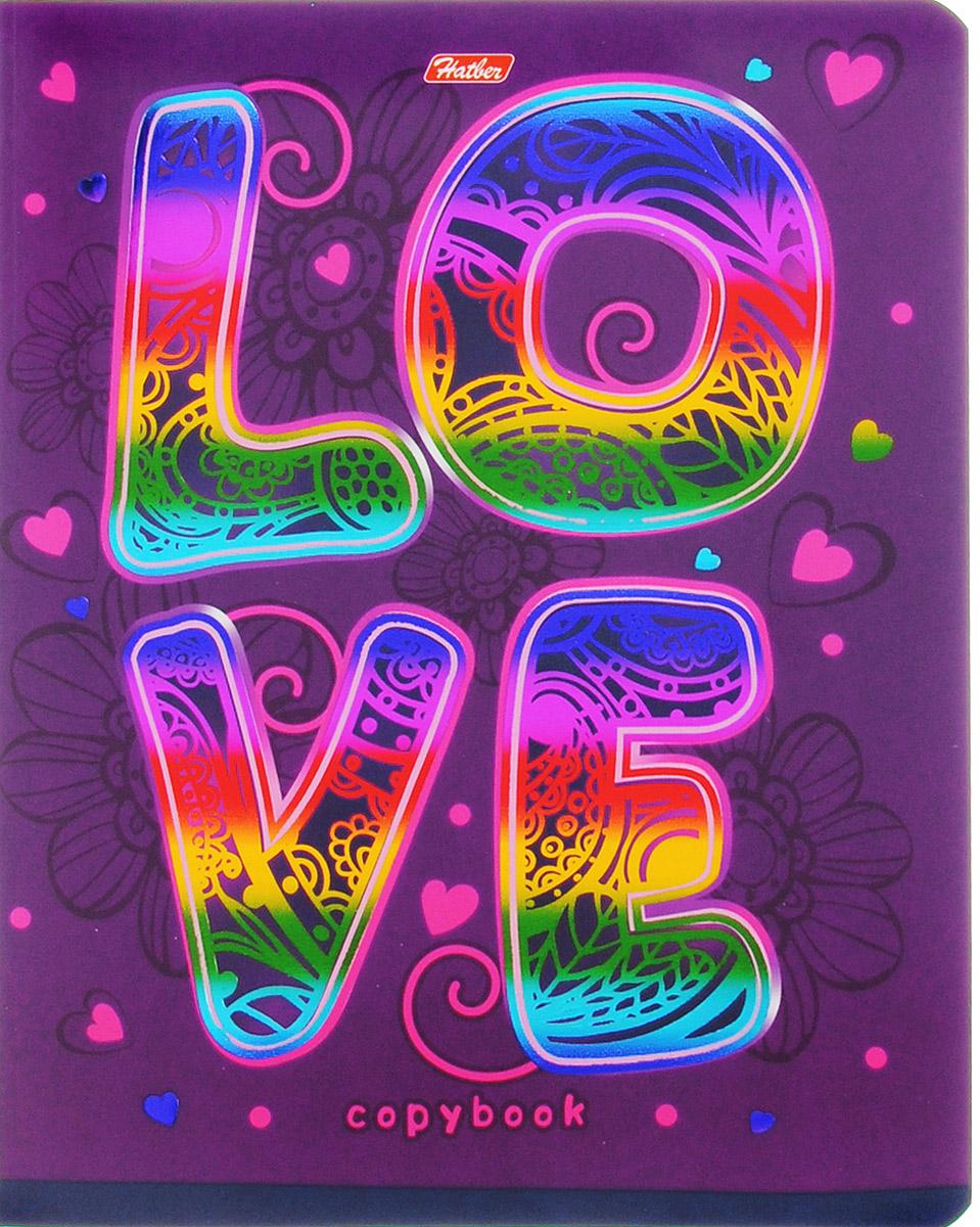Hatber Тетрадь Love 48 листов в клетку48Т5фВ1_14553Тетрадь Hatber Love отлично подойдет для занятий школьнику, студенту или для различных записей.Обложка, выполненная из плотного картона, украшена тиснением радужной фольгой. Игра разноцветных металлизированных переливов в сочетании с оригинальными узорами дарит тетрадке магический эффект.Внутренний блок тетради, соединенный металлическими скрепками, состоит из 48 листов белой бумаги в голубую клетку с полями.