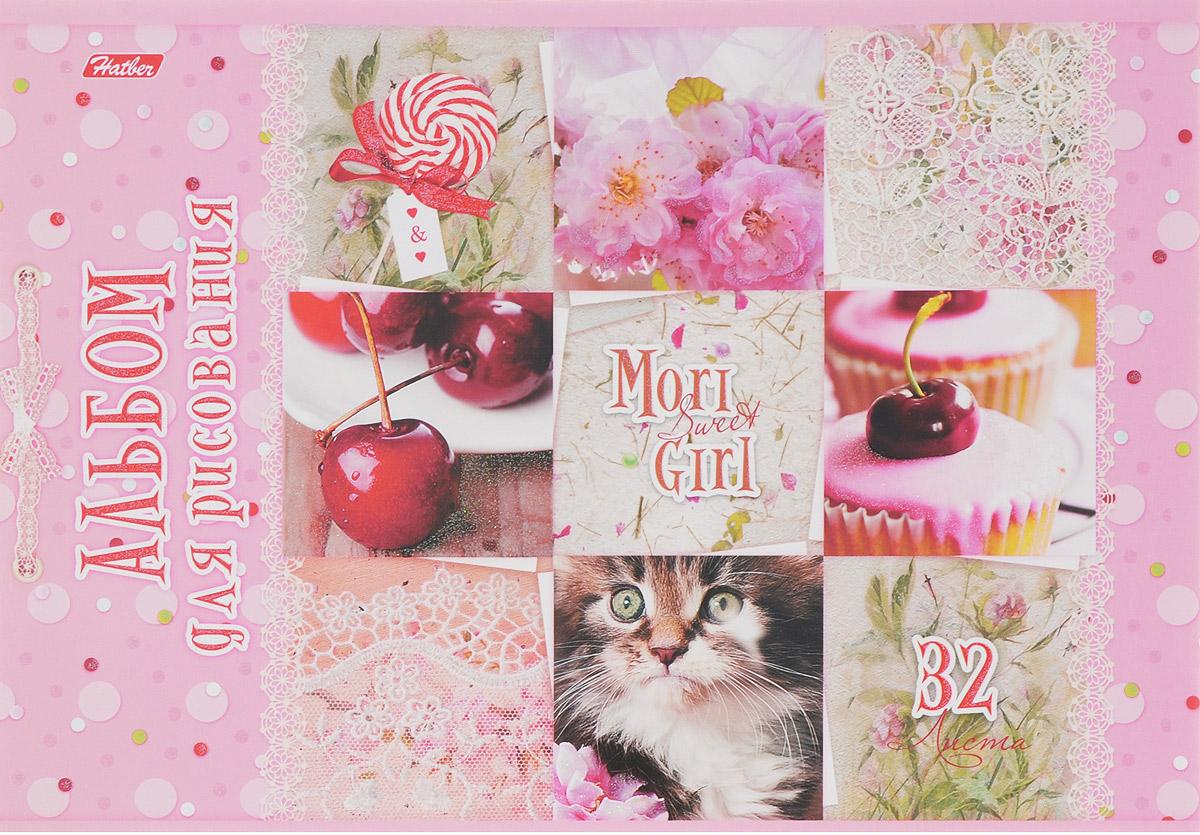 Hatber Альбом для рисования Sweet Mori Girl 32 листа 1455032А4блВ_14550Альбом для рисования Hatber Sweet Mori Girl порадует маленькую художницу и вдохновит ее на творчество. Альбом изготовлен из белоснежной бумаги с яркой обложкой из плотного картона, оформленной милыми картинками и блестками.Внутренний блок альбома, соединенный двумя металлическими скрепками, состоит из 32 листов. Высокое качество бумаги позволяет рисовать в альбоме карандашами, фломастерами, акварельными и гуашевыми красками.
