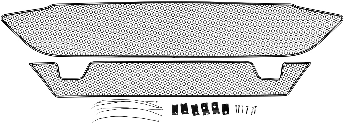 Сетка для защиты радиатора Novline-Autofamily, внешняя, для Ford Tourneo Custom (2014-) с передним парктроником, 2 шт01-170814-151Сетка для защиты радиатора Novline-Autofamily изготовлена из антикоррозионного материала, что гарантирует отсутствие ржавчины в процессе эксплуатации. Изделие устанавливается на штатную решетку переднего бампера автомобиля, защищая таким образом радиатор от попадания камней, крупных насекомых, мелких птиц. Простая установка делает это изделие необыкновенно удобным. В отличие от универсальных сеток, для установки которых требуется снятие бампера, то есть наличие специализированных навыков и дополнительного оборудования (подъемник и так далее), для установки этой сетки понадобится 20 минут времени и отвертка. Данный продукт разработан индивидуально под каждый бампер автомобиля. Внешняя защитная сетка радиатора полностью повторяет геометрию решетки бампера и гармонично вписывается в общий стиль автомобиля.