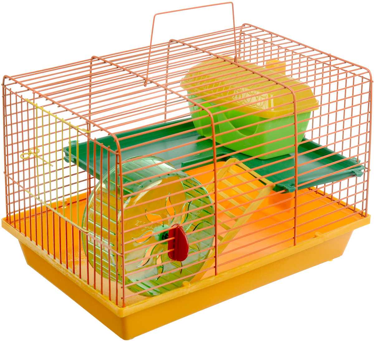 Клетка для грызунов ЗооМарк, 2-этажная, цвет: желтый поддон, оранжевая решетка, зеленый этаж, 36 х 23 х 24 см125_желтый, оранжевый, зеленыйКлетка ЗооМарк, выполненная из полипропилена и металла, подходит для мелких грызунов. Изделие двухэтажное, оборудовано колесом для подвижных игр и пластиковым домиком. Клетка имеет яркий поддон, удобна в использовании и легко чистится. Сверху имеется ручка для переноски. Такая клетка станет уединенным личным пространством и уютным домиком для маленького грызуна.
