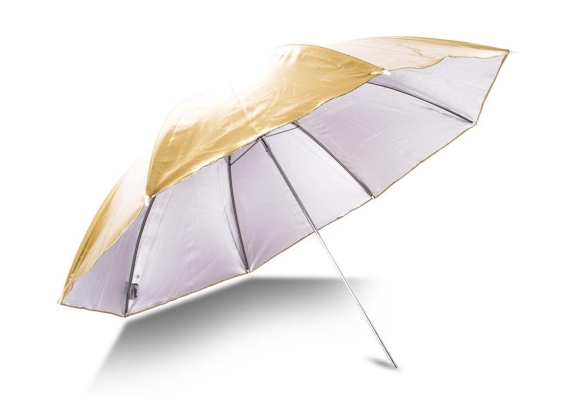 Ditech UB33WG, White Gold зонт на отражение для фотосъемкиUB33WGDitech UB33WG применяется практически для всех видов студийной съемки. Зонт имеет две глянцевые отражающие поверхности: белую и золотистую, которые, в зависимости от поставленных задач можно заменить в течение нескольких минут. Диаметр: 33 дюйма.