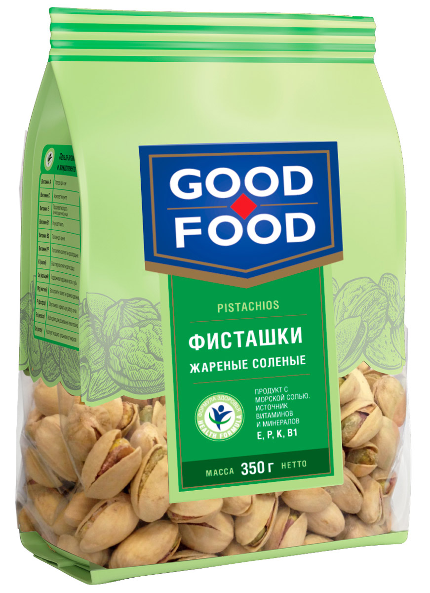 Good Food фисташкижареныесоленые,350г4620000671855Дерево жизни, орехи счастья - так по-другому называют фисташки, обладающие тонким оригинальным вкусом и массой полезных свойств. Польза фисташек для человеческого организма неоценима, достаточно взглянуть на перечень полезных веществ, которые содержат эти орехи, чтобы в этом убедиться: витамины группы А (лютеин, зеаксантин), В (В1, В9, В6), Е, медь, марганец, фосфор, калий, магний, железо и многое другое. Фисташки Good Food обладают сбалансированным вкусом благодаря равномерной прожарке и оптимальному количеству соли.
