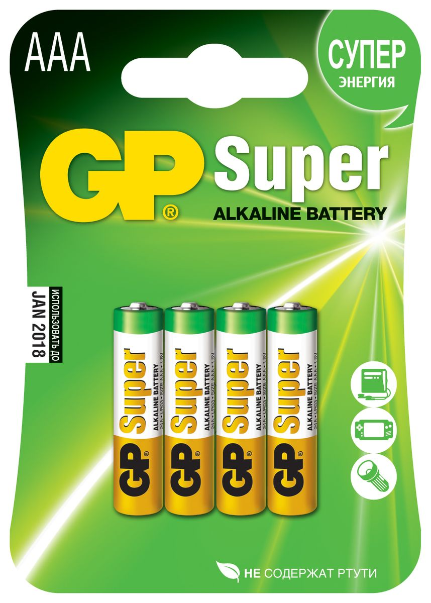"Батарейка алкалиновая GP Batteries ""Super Alkaline"", тип АAА, 4 шт"