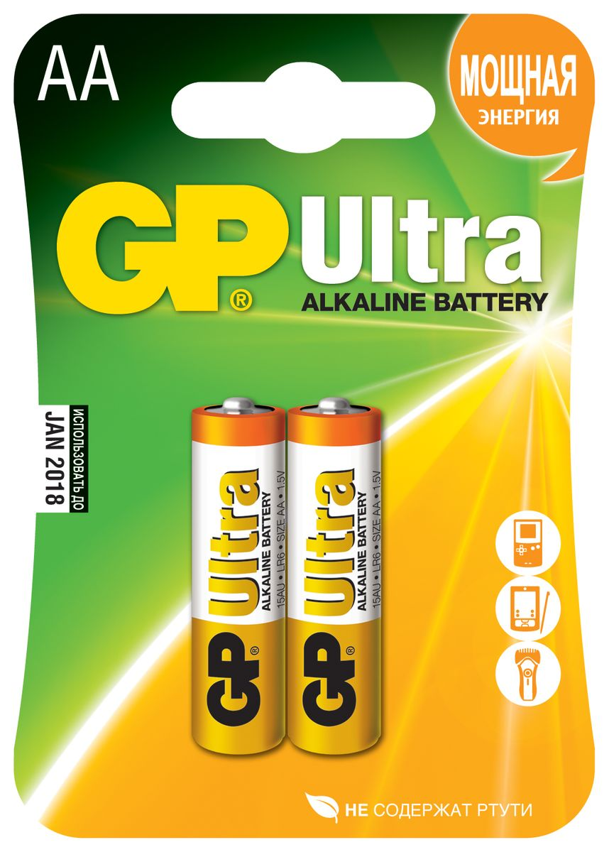Батарейка алкалиновая GP Batteries Ultra Alkaline, тип АА, 2 шт батарейка алкалиновая gp batteries super alkaline тип аа 96 шт